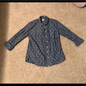 J. CREW Polka Dot Chambray Button-Down Shirt